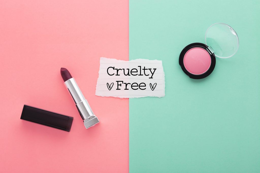 Lipstick and blush with cruelty free text on paper on pink and green background, top view